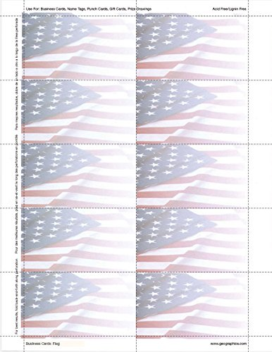 Geographics Flag Design Business Suite Cards, 3-1/2 x 2 Inches, 65 Lb Cardstock, 250 Cards per Pack (47378)