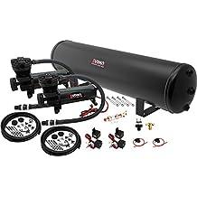 Vixen Air 5 Gallon (18 Liter) Steel Tank with Dual 200 PSI Black Compressor Onboard System/Kit for Suspension/Train Horn 12V VXO4852DB