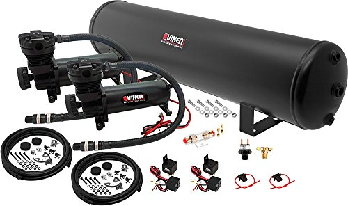 Vixen Air 5 Gallon (18 Liter) Steel Tank with Dual 200 PSI Black Compressor Onboard System/Kit for Suspension/Train Horn 12V VXO4852DB