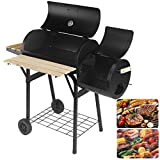 "Artist Hand 47"" Portable Charcoal Grill with Offset Smoker, Piato Backyard Charcoal BBQ Grill With Side Fire Box. Equipped with Convenient shelf and Hinged Lid."