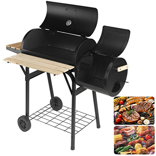"Artist Hand 47"" Portable Charcoal Grill with Offset Smoker, Piato Backyard Charcoal BBQ Grill With Side Fire Box. Equipped with Convenient shelf and Hinged - Backyard Smoker"