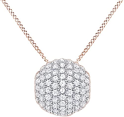 New Sterling Silver CZ Paved Cubic Zircon Round Ball Pendant With Necklace Chain
