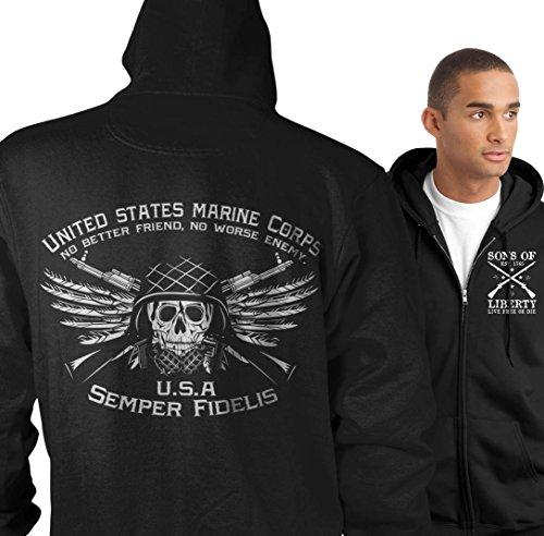 Sons of Libery Zip Hoodie: USMC. No Better Friend. No Worse Enemy. Black XL -