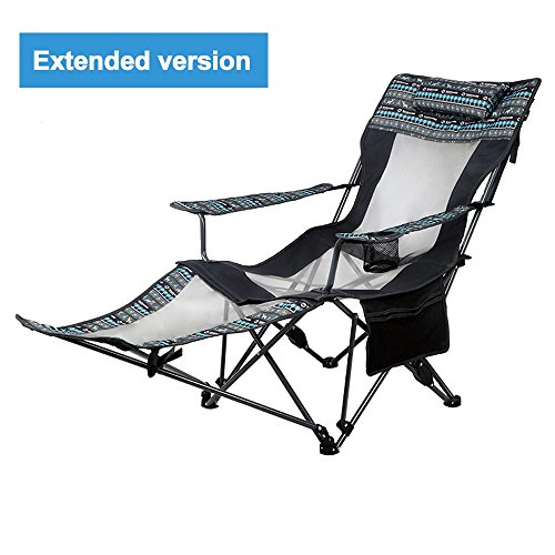QYC Outdoor Leisure Folding Chair Recliner Portable Siesta Bed Chair Wild Folding Chair Relax Comfortable Family Outdoor Travel (Size : L) Black Leisure Recliner Chair