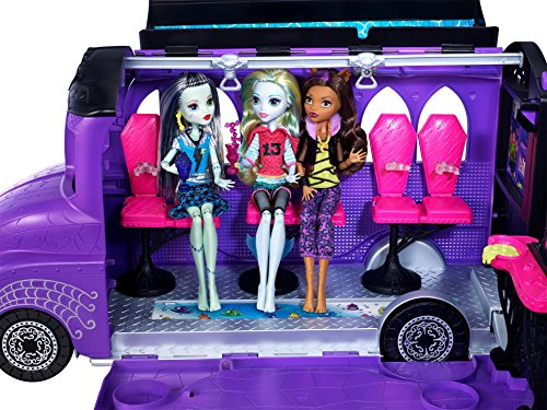 Mattel - Monster High - FCV63 - Deluxe Bus and Mobile Salon Toy Playset - Pedicure Station Pool - Fashion Doll