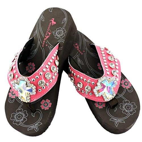 Beaded Strap Flip Flop (Montana West Women's Hand Beaded Flip Flop Sandals (7B(M), HotPinkCrossBling))