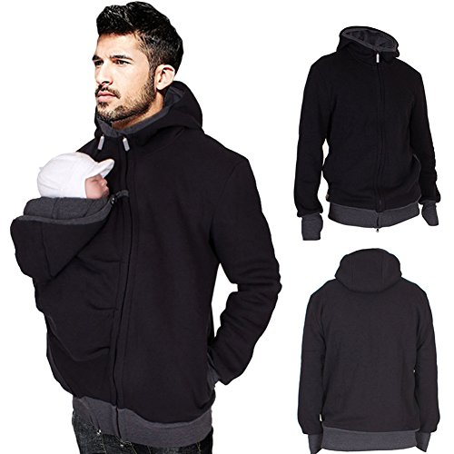 Cosplayjoy Mens Kangaroo Hoodies Jacket Coat for Dad and Baby Carrier Maternity Winter Warm Sweatshirts (L) by Cosplayjoy (Image #1)