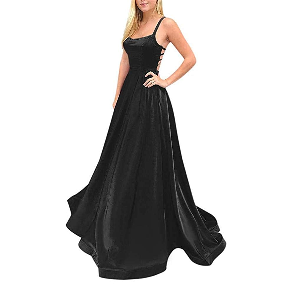 Black Sulidi Womens Sexy Spaghetti Straps CrissCross Back Satin Prom Dresses with Pocket L017