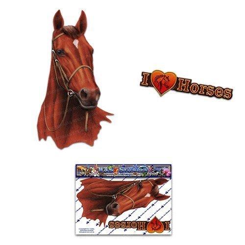 Etiquetas engomadas del coche del marrón del caballo - ST00052BR_SML - Etiquetas engomadas del JAS