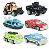 Jellydog Toy Die-cast Vehicles , Friction Powered Truck, Diecast Metal Pull Back Car, Toddler Car Toy, Speedboat, Racing Car, Pickup Truck, Sport Utility Vehicle, Tank, Ambulance Car, 6 Pcs/Set