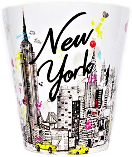 (Sweet Gisele | New York City Latte Mug | Ceramic NYC Coffee Cup | Downtown Manhattan Skyline | Empire State Building & Times Square | Brooklyn Bridge | Novelty Gift)