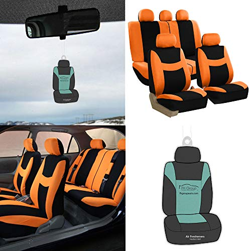 FH Group FB030115-SEAT Light & Breezy Orange/Black Cloth Seat Cover Set Airbag & Split Ready- Fit Most Car, Truck, SUV, or Van