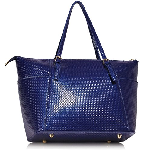 For Shoulder Faux LeahWard® Blue Patent Shoulder Handbags Bags Quality School Women Leather Oversize Bag CW30 Shopper Navy Bag Women's Holiday wAAXxUqv
