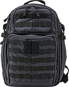 5.11 RUSH24 Tactical Backpack Medium with 20 Compartments, MOLLE, SlickStick, Hydration Pocket, Comms Ready for Active Duty Military, Hunting, Recreation or Bug Out Bag, Style 58601, Double Tap