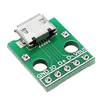 Ils - 5uds Micro USB A Dip Hembra Socket Tipo B Micrófono Parche 5P A Dip 2.54mm Pin con Tablero Adaptador de Soldadura: Amazon.es: Electrónica