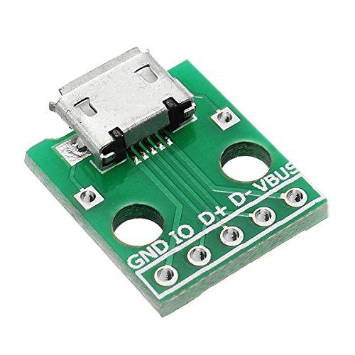 LaDicha Micro Usb Pour Tremper Femelle Socket B Type Microphone 5 P Patch Pour Tremper 2.54Mm Pin Avec Carte Adaptateur À Souder