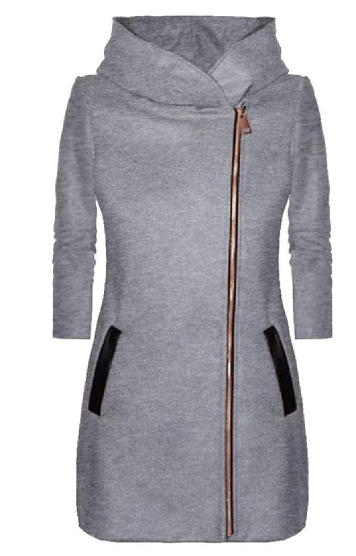 YUNY Womens Solid Color Loose-Fit Oblique Zipper Sweatshirt Dress Grey S