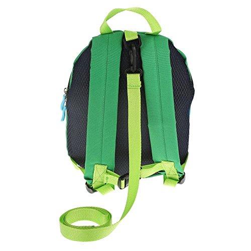 Zerodis Rucksack Kinderrucksäcke Backpack Schultasche 3D Dinosaurier Kinder Kleinkinder mit Sicherheitsleine(Blau) Grün