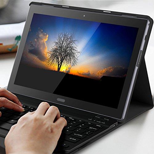 new concept 93a75 ad0d3 IVSO Lenovo Tab 4 10 PLUS Bluetooth Keyboard Portfolio Case (QWERTY ...