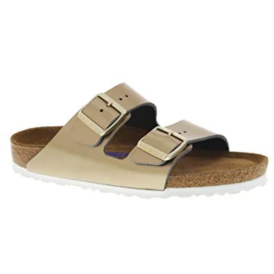 521aae06c85a Birkenstock Women s Arizona Soft Footbed Sandal Spectacular Platinum  Leather Size 36 N EU