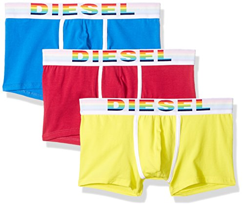 (Diesel Men's UMBX-Damien Three-Pack Rainbow Boxer-Brief 3pack, Red/Blue/Yellow, L)