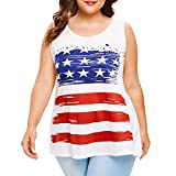 JFLYOU Plus Size Tank Top for Women American Flag Sleeveless Crop Vest Shirt Blouse Cami(White,XL)