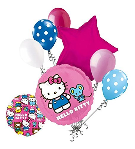 (7 pc Hello Kitty & Friends Character Round Balloon Bouquet Happy Birthday Girl)