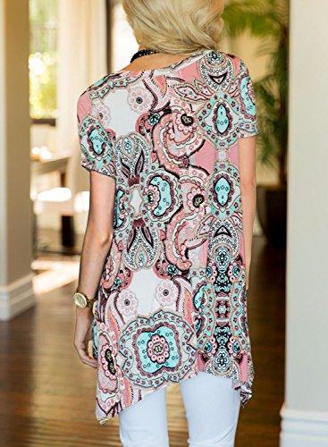 MIROL Womens Summer Short Sleeve Floral Print Irregular Hem Asymmetrical Loose Fit Tunic Tops, Pink, X-Large by MIROL (Image #2)