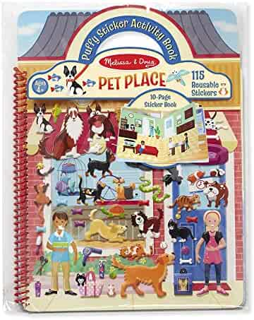 Melissa & Doug Puffy Sticker Activity Book Pet Place, 10-Page Spiral-Bound Sticker Book, Mix-and-Match Stickers, 115 Reusable Puffy Stickers