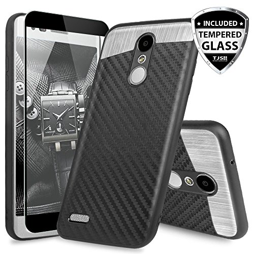 LG ARISTO 2 X210 Case, LG Tribute Dynasty Case, LG REBEL 3 LTE Case, LG Zone 4 Case, With TJS [Full Coverage Tempered Glass Screen Protector] Fit Carbon Fiber Phone - Fit Case Phone