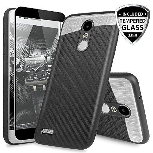 TJS LG Aristo 2/Aristo 3/Aristo 2 Plus/Tribute Dynasty/Rebel 3 LTE/Zone 4/Fortune 2/Rebel 4/K8 Plus/Risio 3 Case, [Full Coverage Tempered Glass Screen Protector] Carbon Fiber Metal Phone Case (Black)
