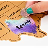 Jetsettermaps Scratch Your Travels United States of America (USA US) Watercolor Art Map 12x18in Poster