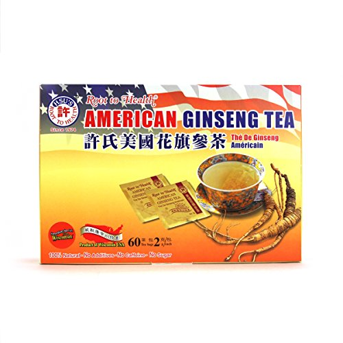 Cheap Hsu's Ginseng SKU 1039 | American Ginseng Tea, 60ct | Cultivated American Ginseng from Marathon County, Wisconsin USA | 许氏花旗参 | 60ct Box, 西洋参, B000153R4K