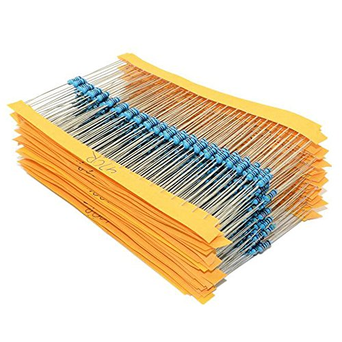 30 Values 1% Resistor Kit Assortment, 1/4W Metal Film Resistors 100 220 1K 2.2K 4.7K 10K Ohm, PoiLee 600pcs Electronics 10 Ohm-1M Ohm - 1% Metal Film Resistor