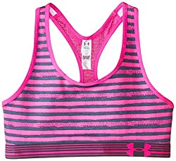 Under Armour Youth Girls' Printed Mesh Bra, Pomegranate/Rebel Pink/After Burn, X-Large