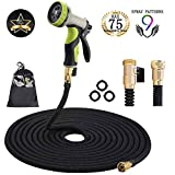 Garden Hose Expandable Garden Hose 75 ft garden hose with Triple Layer Latex Core, 3/4' Solid Brass Fittings, 3750D Extra Strength Fabric 9 Function Spray Nozzle For All Your Watering Need