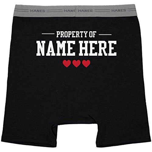 (Property of Custom Name Mens Boxers: Hanes Black Boxer Brief Underwear)