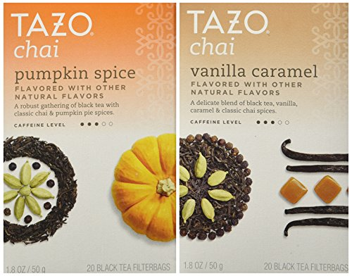 Tazo Chai Tea Holiday Bundle - 2 Items (Tazo Chai Pumpkin Spice Tea and Tazo Chai Vanilla Caramel Tea)