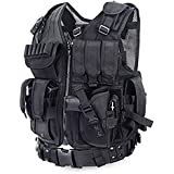 iTech-Smart Tactical CS Field Vest Outdoor Ultra-light Breathable Combat Training Vest Adjustable For Adults Encryption Polyester/Black