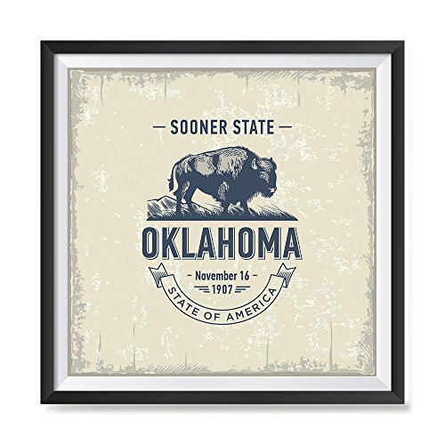 EzPosterPrints - USA State Icon Posters - Poster Printing USA Flags Icons Symbol Wall Posters- Wall Art Print for Home Office Decor - Oklahoma - 16X16 inches ()