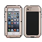 R&MAO-iPhone 5/5S Case, Extreme Shockproof Dust/Dirt Proof Aluminum Metal Gorilla Glass Protection Case Cover Military Heavy Duty Protection Cover Case for Apple iPhone 5/5S (Gold)