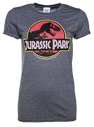 TruffleShuffle Womens Charcoal Marl Jurassic Park Logo Boyfriend T Shirt