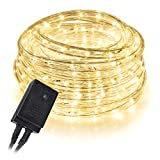 West Ivory 10', 25', 60', 150' ft (60' feet) Warm White LED Rope Lights w/ 8 Mode Controller 2 Wire Accent Holiday Christmas Party Decoration Lighting | UL Certified