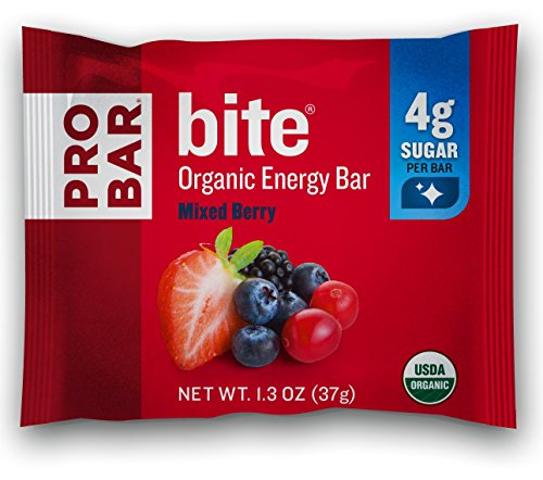 PROBAR – bite Organic Energy Bar – Mixed Berry – USDA Organic, Gluten-Free, Non-GMO Project Verified, Plant-Based Whole Food Ingredients, 4g Protein – Pack of 12