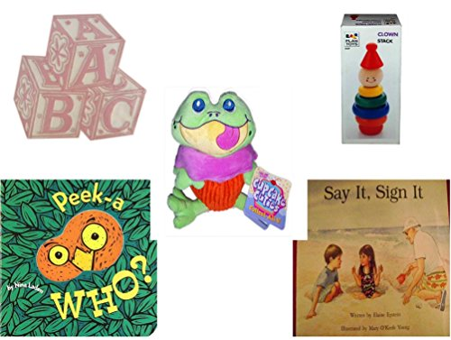 Children's Gift Bundle - Ages 0-2 [5 Piece] - ABC Baby Blocks Cake Topper Pink Girl - Clown Stack - Cupcake Cuties Sugar Loaf Plush Stuffed Baking Pastry Funny Frog Doll 10