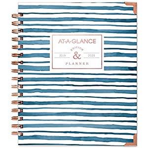 "AT-A-GLANCE 2019-2020 Academic Year Weekly & Monthly Planner, Medium, 7"" x 8-3/4"", Hardcover, Badge, Stripes (6203S-805A)"