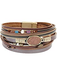 Women's Leather Wrap Bracelet - Pearl and Colorful Beads...