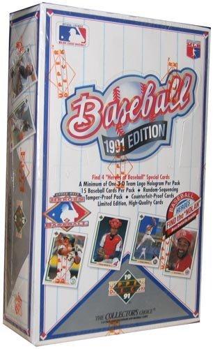 1991 Upper Deck Baseball Cards Box (36 packs/box, possible Chipper Jones Rookie Cards)