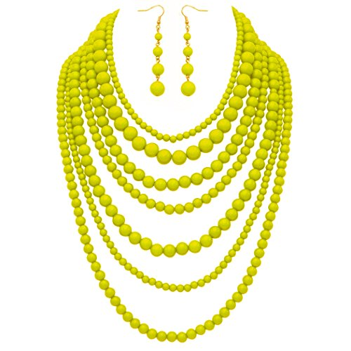 Jewelry Set Beaded Yellow (Rosemarie Collections Women's Fashion Jewelry Set Beaded Multi Strand Bib Necklace (Sunshine Yellow))