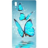 Casotec Flying Butterflies Design Hard Back Case Cover for Sony Xperia T3